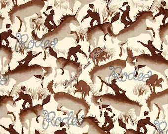 "Michael Miller ""Round Up"" Rodeo CX6751-Cream-D Horses Western Fabric (Select Size)"