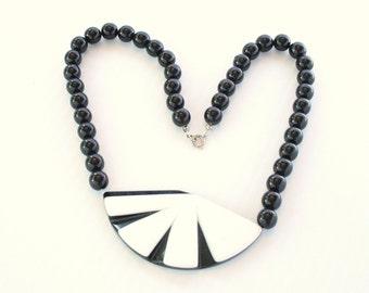 Vintage Deco Black White Choker Vintage Bib Collar Necklace Art Deco Style 1980s