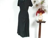 Vintage 1940s Dress - Sophisticated Black Rayon Crepe 40s Cocktail Dress with Carnival Glass Beaded Neckline andElegant Side Drape