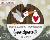 Pregnancy Reveal to Grandparents Soon to Be Grandparents Gift Baby Expecting Ornament Grandparent Christmas Ornament Stork Faux Wood #OR06MG