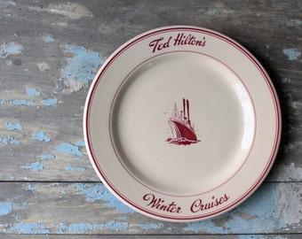 Ted Hilton's Winter Cruises Plate, Connecticut History, Ted Hilton's Resort, Vintage Restaurantware, Jackson China, Moodus Connecticut