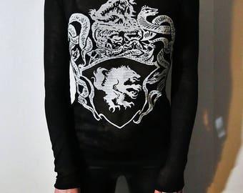 Satanic Warmaster Crest Black & White Cowl Neck Top