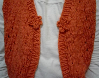 Hand knit Toddler sleeveless Lace Bolero, vest fits ages 4-5, Burnt orange, carrot color