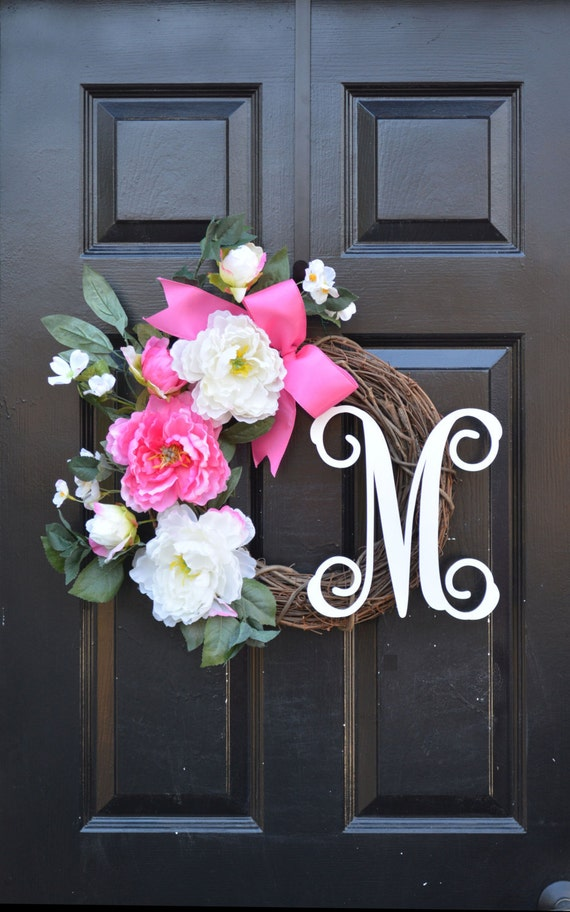 Monogram Peony Spring Wreath- Peony Wreath- Door Wreath- Monogram Wreath for Front Door Mother's Day Gift Pink Peonies- Wedding Wreath Decor