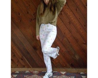 Oscar de la Renta Floral Print Trousers Pants - Vintage 90s - S