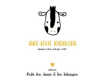 Printable custom baby announcement with a zebra
