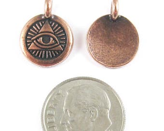 TierraCast Pewter Charms-Copper Eye of Providence 12x16mm (2)