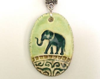 Teal Elephant in Green Earthtones