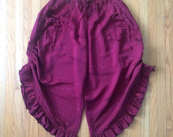 Wide Ruffled Pants with Pockets in Deep Burgundy Silk