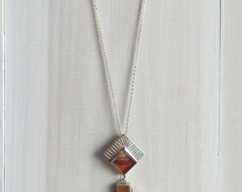 Carnelian, Apache Agate and Sterling Silver Pendant with Chain