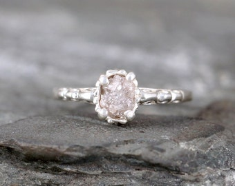 Raw Uncut Rough Diamond Solitaire and Sterling Silver Filigree Ring - Conflict Free Diamond - Antique Styled Engagement Ring