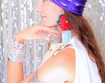 Turban - Womens Headwrap in Purple Metallic - Sparkly Full Turbans -  Holiday or New Years Eve Party Style