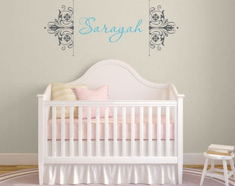 Personalized name wall decal, Damask wall decal, Girls wall decal, Baby wall decal, Damask wall stencil, Girls bedroom decor, Name decal 130