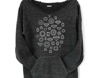 Womens Diamond Sweatshirt, Geometric Shapes, off the shoulder sweater, womens black top, fleece pullover, womens raglan kangaroo pocket