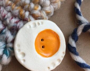 2 Ceramic Buttons - Fried Egg Button - Handmade Button - Egg Button