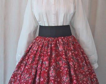 Long Skirt for Costume - Dickens Christmas - Victorian - Pioneer - Civil War Reenactment - Cranberry Floral Print Cotton Fabric - Handmade