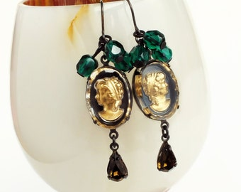 Gold Glass Cameo Earrings Vintage Victorian Gold Crystal Portrait Cameo Earrings Topaz Emerald Glamorous Victorian Statement Jewelry