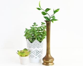 Vintage Brass Vase / Mid Century Brass Vase / Solid Brass Vase / Boho Home Decor
