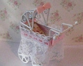 Dollhouse buggy carriage mini baby buggyLace trimmed buggy nursery childs carriage twelfth scale  Doll house miniature
