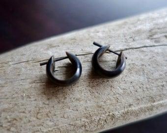 Wood Earrings | Petite Black Hoops | Tribal Posts