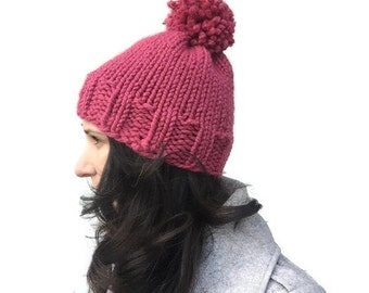 Pink chunky knit hat - Raspberry knit hat - hand knit hat with pompom - wool knit hat - womens winter hat - womens knit hat - warm winter