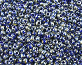 2/0 Opaque Royal Blue with White Stripes Silver Picasso Czech Glass Seed Beads 20 Grams (CS232) SE
