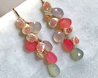 Chalcedony Pearl Earrings Long Dangle Pastel Earrings Rose Gold Fill Multicolor Chalcedony Ethiopian Opal  Keishi Pearl  Boho Chic Earrings