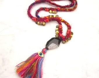 Boho tassel necklace, evil eye sari silk necklace, bohemian hippie braided agate & coral stone necklace, multicolor gypsy tribal jewelry