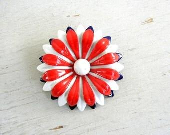 Red White Blue Enamel Flower Brooch | Enamel Pin | Vintage Jewelry | RWB Daisy Pin | Vintage Flower Pin