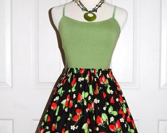 Cotton Skirt Vintage Style Skirt Gathered Elastic Waist Skirt Black with Strawberries Skirt Ladies or Teens Skirt Gift for Her Handmade USA
