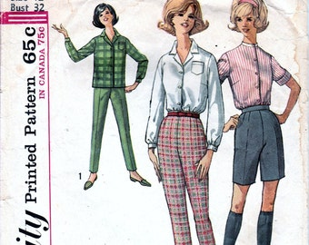 Vintage Sewing Patterns 1960s Pants Slacks Jamaicas 60s Pattern Shirt Blouse Pattern Retro Simplicity Pattern Juniors Teens Misses Bust 32