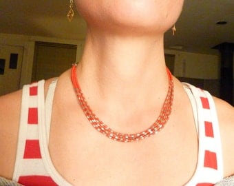 Vintage Sterling Silver and Coral Beads Southwestern Artist Signed Necklace
