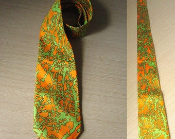 Vintage 70s Orange and Green Abstract Print Necktie