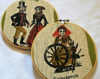 Hoop Art Wall Hanging, Denmark Couple, Old Women with Spinning Wheel, Hoop Art, Wall Art