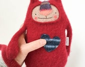 Stuffed Animal Cat Red Cashmere Upcycled Sweater Repurposed