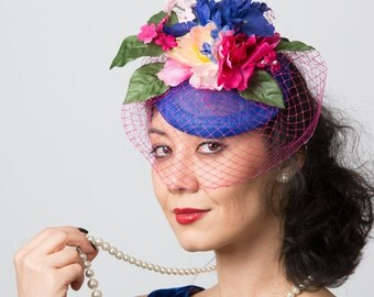 Blue wedding fascinator royal blue fascinator hat floral blue wedding mini hat derby cocktail hat MEMORIES