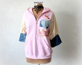Pink Upcycled Hoodie Hooded Zipper Jacket Recycle Jeans Denim Cozy Sweatshirt Unique Clothing Rustic Casual Top Oversize Hoodie M 'SHAWNA'