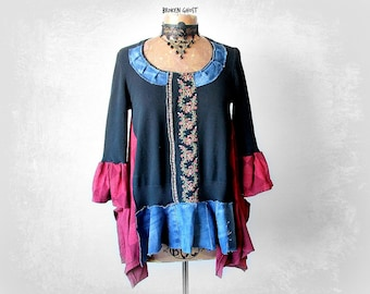 Shabby Boho Top Black Upcycle Shirt Hippie Festival Mori Girl Clothing Loose Fitting Tunic Recycle Jeans Gypsy Fashion Eco Women M 'TILLY'