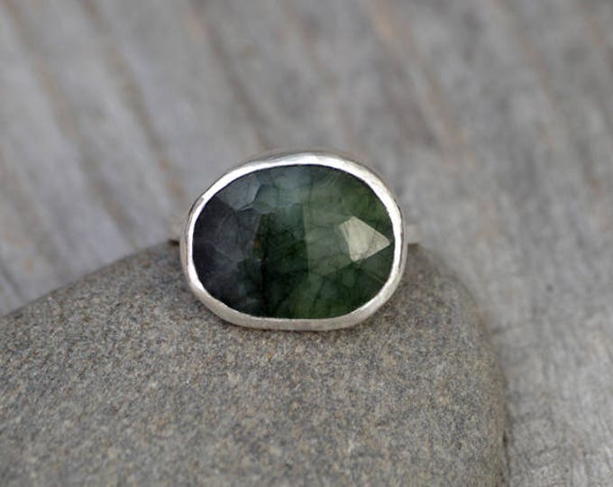 Rose Cut Emerald Ring, 4.10ct Emerald Ring, May Birthstone, Emerald Gift, Handmade In The UK