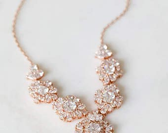 Rose Gold Bridal Necklace | Statement Crystal Necklace | Blush Pink Wedding Jewelry [Roslyn Necklace]