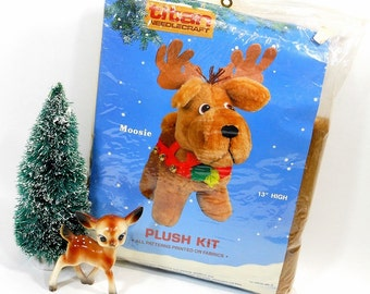 1987 Vintage Titan Needlecraft Kit | Plush Moose Kit | Faux Fur | Jingle Bells | Quality Felt | Christmas Stitchery | Sewing Supplies