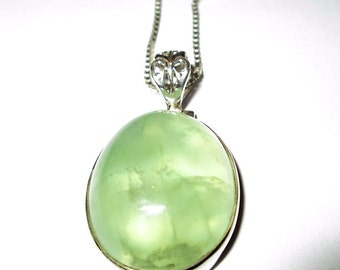 NECKLACE - PREHNITE - OVAL - 925  - Sterling Silver - 24 inches - necklace318