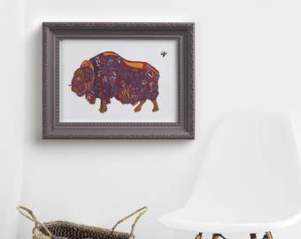 Musk Ox Art Print - Arctic Animal Print - Home Decor - limited edition print // Home Decor // 13x19, 11 x 14, 8 x 10, 5 x 7