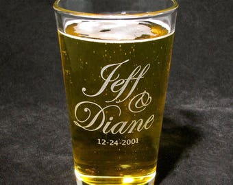 Personalized Pint Glass, Gift for Couple, Wedding or Anniversary Present, Valentines Day Gift
