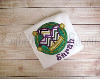 Applique Mardi Gras Jester Hat Onesie or T-shirt Personalized for Boys or Girls