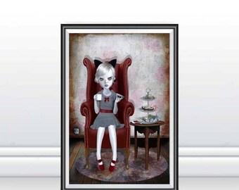 A3 Art Print - Large Print - Big Eye Art - Big Eyed Girl - Lowbrow Art - Lowbrow Girl - Little Madame