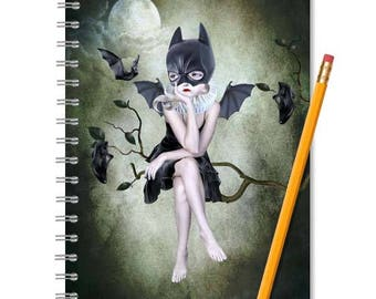 Bat Girl Notebook - Bats Notebook - LINED OR BLANK pages, You Choose