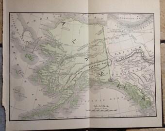 1890 Political Map of Alaska Antique Illustration