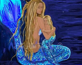 "Mermaid Mermaids Art Print Giclee Mother Child Mermaid Wall Art Mermaid Decor Mermaid Wall Art  ""UNDERWATER LOVE"""