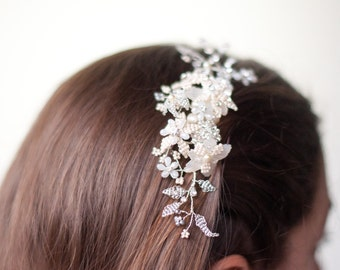 Bridal crystal beaded hair comb, silver and ivory wedding hair piece, Mother of pearl flowers, crystal on wire branches wedding hair vine
